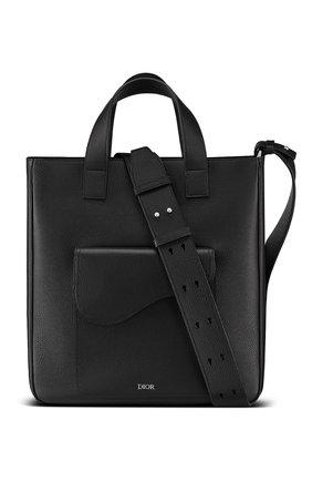 Мужская кожаная сумка-шопер saddle DIOR черного цвета, арт. 1ADSH175YMJH00N | Фото 1