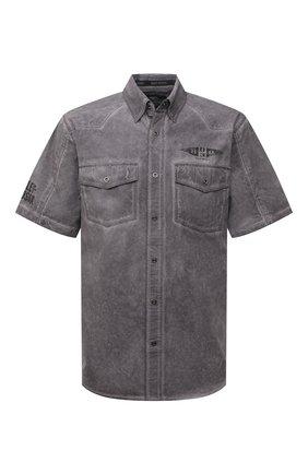 Мужская хлопковая рубашка HARLEY-DAVIDSON серого цвета, арт. 96149-16VM | Фото 1 (Материал внешний: Хлопок; Случай: Повседневный; Рукава: Короткие; Принт: С принтом; Воротник: Кент)