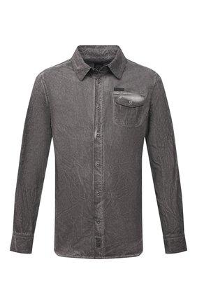 Мужская хлопковая рубашка HARLEY-DAVIDSON серого цвета, арт. 96457-16VM | Фото 1 (Материал внешний: Хлопок; Случай: Повседневный; Рукава: Длинные; Принт: Однотонные; Воротник: Кент; Манжеты: На пуговицах)