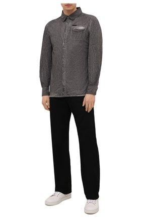 Мужская хлопковая рубашка HARLEY-DAVIDSON серого цвета, арт. 96457-16VM | Фото 2 (Материал внешний: Хлопок; Случай: Повседневный; Рукава: Длинные; Принт: Однотонные; Воротник: Кент; Манжеты: На пуговицах)