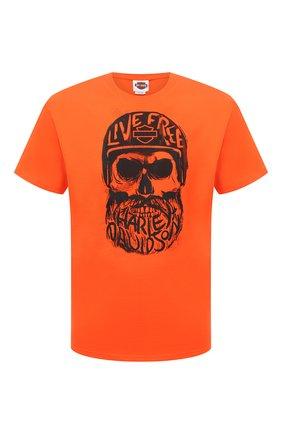 Мужская хлопковая футболка exclusive for moscow HARLEY-DAVIDSON оранжевого цвета, арт. R004022 | Фото 1 (Материал внешний: Хлопок; Рукава: Короткие; Стили: Гранж; Принт: С принтом)
