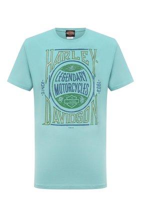 Мужская хлопковая футболка exclusive for moscow HARLEY-DAVIDSON бирюзового цвета, арт. R004025 | Фото 1 (Материал внешний: Хлопок; Рукава: Короткие; Принт: С принтом; Стили: Гранж)