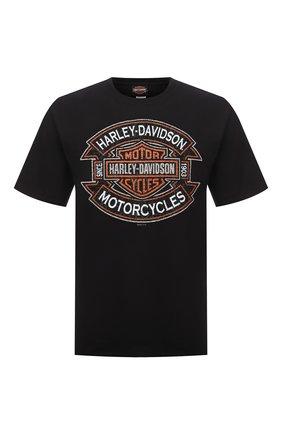 Мужская хлопковая футболка exclusive for moscow HARLEY-DAVIDSON черного цвета, арт. R004028 | Фото 1 (Материал внешний: Хлопок; Рукава: Короткие; Принт: С принтом; Стили: Гранж)