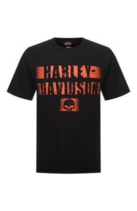 Мужская хлопковая футболка exclusive for moscow HARLEY-DAVIDSON черного цвета, арт. R004037 | Фото 1 (Материал внешний: Хлопок; Рукава: Короткие; Принт: С принтом; Стили: Гранж)