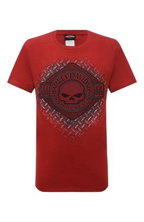 Мужская хлопковая футболка exclusive for moscow HARLEY-DAVIDSON красного цвета, арт. R004041 | Фото 1 (Материал внешний: Хлопок; Рукава: Короткие; Принт: С принтом; Стили: Гранж)