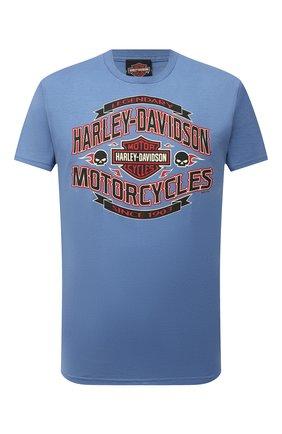 Мужская хлопковая футболка exclusive for moscow HARLEY-DAVIDSON тёмно-голубого цвета, арт. R004052 | Фото 1 (Материал внешний: Хлопок; Рукава: Короткие; Принт: С принтом; Стили: Гранж)