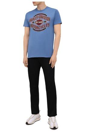 Мужская хлопковая футболка exclusive for moscow HARLEY-DAVIDSON тёмно-голубого цвета, арт. R004052 | Фото 2 (Материал внешний: Хлопок; Рукава: Короткие; Принт: С принтом; Стили: Гранж)