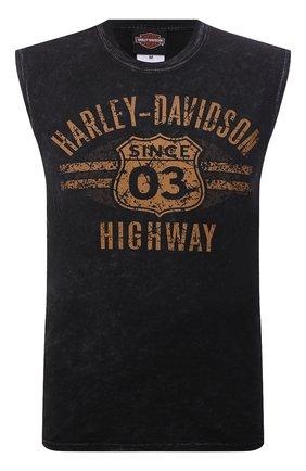 Мужская хлопковая майка exclusive for moscow HARLEY-DAVIDSON черного цвета, арт. R004062 | Фото 1 (Материал внешний: Хлопок; Принт: С принтом; Стили: Гранж)