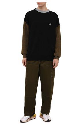 Мужские хлопковые брюки LOEWE хаки цвета, арт. H526Y04W39 | Фото 2