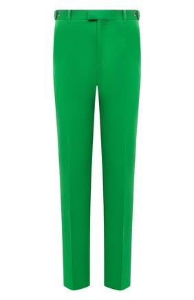 Мужские шерстяные брюки BOTTEGA VENETA зеленого цвета, арт. 659698/VKIV0 | Фото 1 (Материал внешний: Шерсть; Случай: Повседневный; Стили: Минимализм)