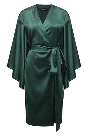 Женский шелковый халат I.D. SARRIERI зеленого цвета, арт. J5362 | Фото 1 (Длина Ж (юбки, платья, шорты): До колена; Материал внешний: Шелк; Рукава: 3/4)