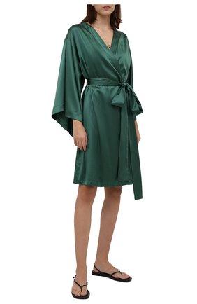 Женский шелковый халат I.D. SARRIERI зеленого цвета, арт. J5362 | Фото 2 (Длина Ж (юбки, платья, шорты): До колена; Материал внешний: Шелк; Рукава: 3/4)