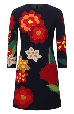 Женское шерстяное платье DOLCE & GABBANA темно-синего цвета, арт. F6Q4ZZ/FU2TZ   Фото 1 (Длина Ж (юбки, платья, шорты): Мини; Материал внешний: Шерсть; Материал подклада: Шелк; Стили: Гламурный; Случай: Повседневный; Женское Кросс-КТ: Платье-одежда; Рукава: 3/4)