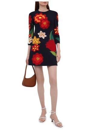 Женское шерстяное платье DOLCE & GABBANA темно-синего цвета, арт. F6Q4ZZ/FU2TZ   Фото 2 (Длина Ж (юбки, платья, шорты): Мини; Материал внешний: Шерсть; Материал подклада: Шелк; Стили: Гламурный; Случай: Повседневный; Женское Кросс-КТ: Платье-одежда; Рукава: 3/4)
