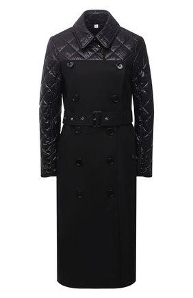 Женское хлопковое пальто BURBERRY черного цвета, арт. 8038802 | Фото 1