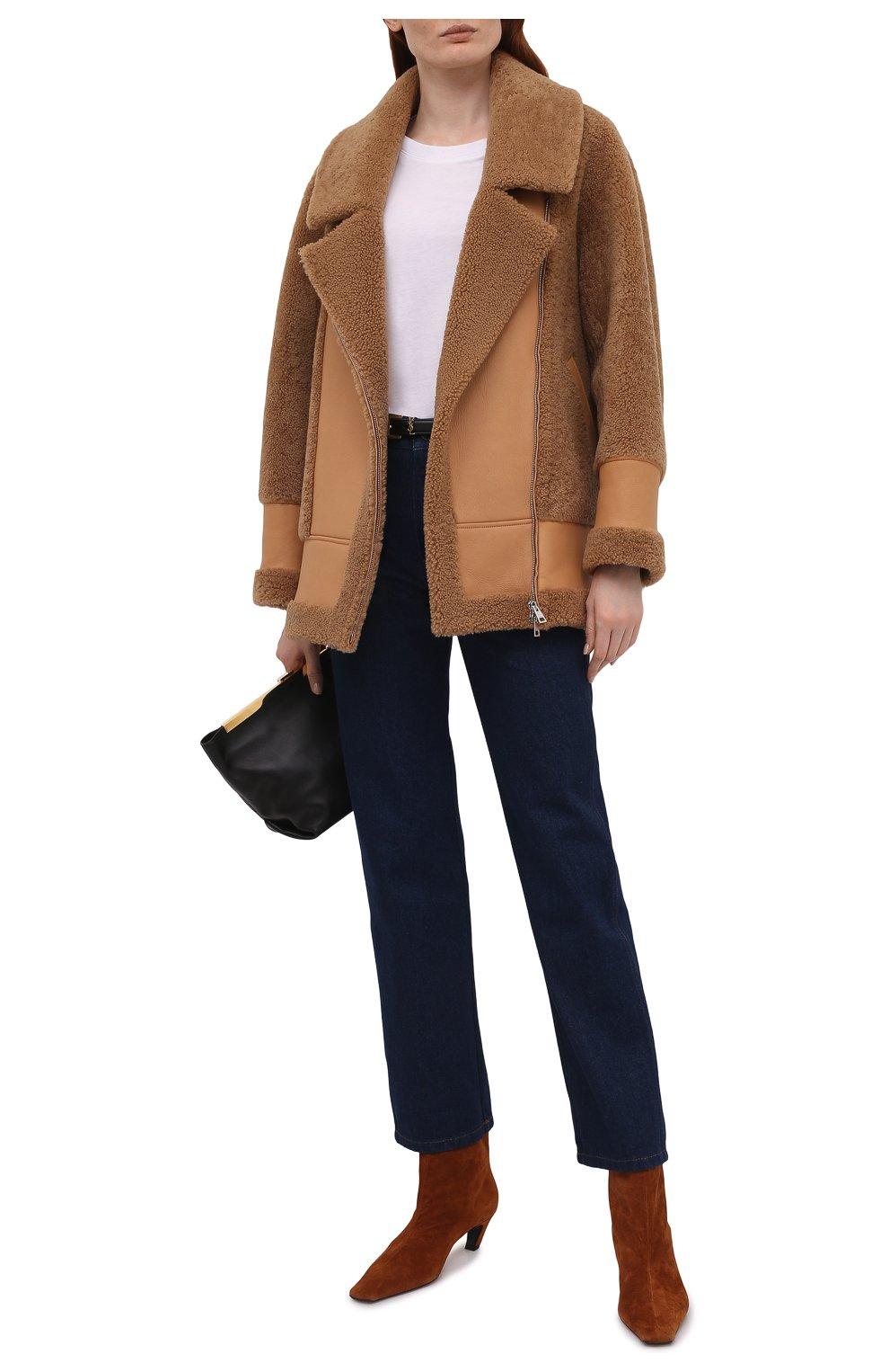 Женская дубленка BLANCHA коричневого цвета, арт. 21047/302/42/VAR. CAMMELL0   Фото 2 (Рукава: Длинные; Стили: Гламурный; Материал внешний: Натуральный мех; Длина (верхняя одежда): Короткие)