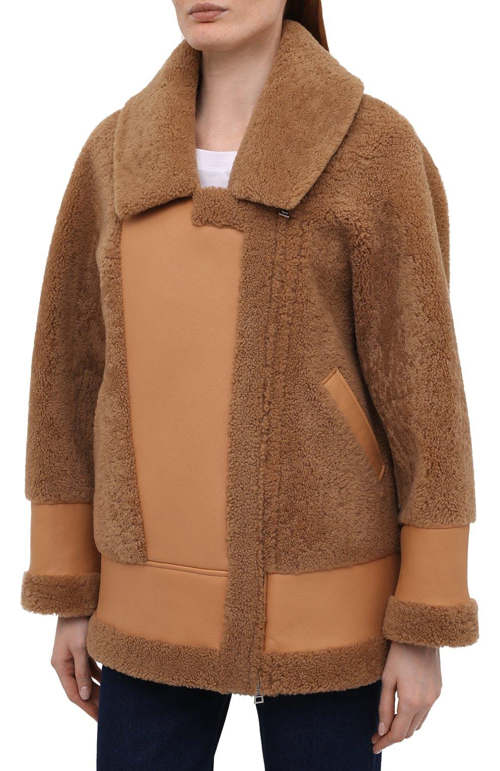 Женская дубленка BLANCHA коричневого цвета, арт. 21047/302/42/VAR. CAMMELL0   Фото 3 (Рукава: Длинные; Стили: Гламурный; Материал внешний: Натуральный мех; Длина (верхняя одежда): Короткие)