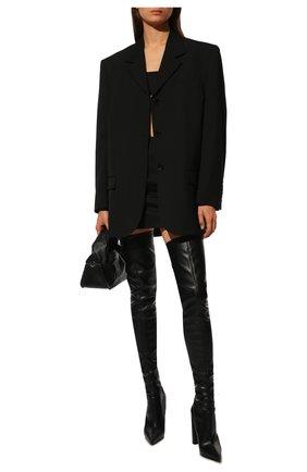 Женские кожаные ботфорты LE SILLA черного цвета, арт. 2959T100R3PPFAK   Фото 2
