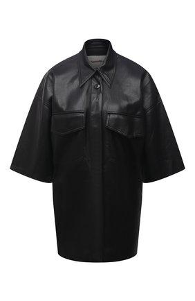 Женская рубашка из экокожи NANUSHKA черного цвета, арт. NW21CRSH01199   Фото 1