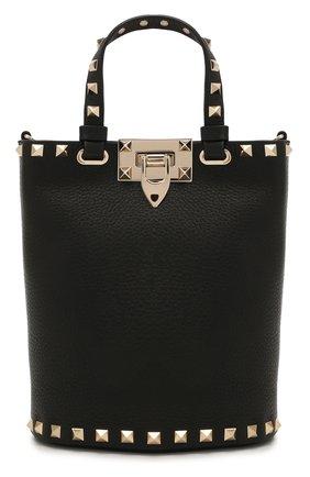 Женская сумка rockstud VALENTINO черного цвета, арт. WW2P0W31/VSH   Фото 1 (Ремень/цепочка: На ремешке; Материал: Натуральная кожа; Размер: mini; Сумки-технические: Сумки top-handle)