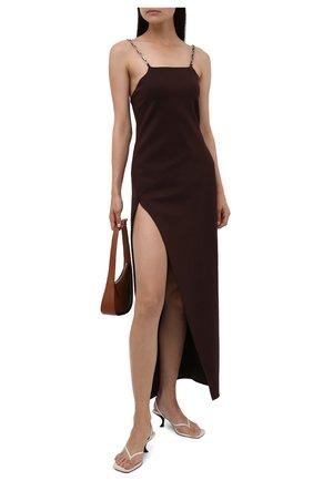 Женское платье из вискозы THE ATTICO коричневого цвета, арт. 213WCM01/V027   Фото 2