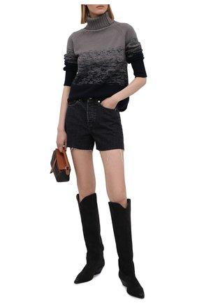 Женский свитер из шерсти и кашемира MANZONI24 темно-синего цвета, арт. 21M349-XSFUM/38-46   Фото 2