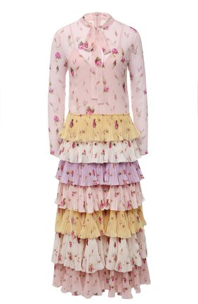 Женское платье REDVALENTINO разноцветного цвета, арт. WR3VAAJ5/615 | Фото 1 (Материал подклада: Синтетический материал; Материал внешний: Синтетический материал; Рукава: Длинные; Длина Ж (юбки, платья, шорты): Миди; Стили: Романтичный; Женское Кросс-КТ: Платье-одежда)