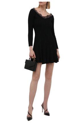 Женское шерстяное платье REDVALENTINO черного цвета, арт. WR3KD03I/646   Фото 2 (Материал внешний: Шерсть; Случай: Повседневный; Длина Ж (юбки, платья, шорты): Мини; Женское Кросс-КТ: Платье-одежда; Рукава: 3/4; Стили: Гламурный)