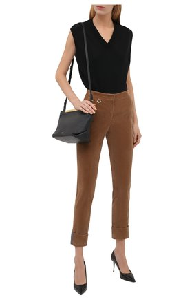 Женские хлопковые брюки LORENA ANTONIAZZI бежевого цвета, арт. A2140PA38A/3068 | Фото 2