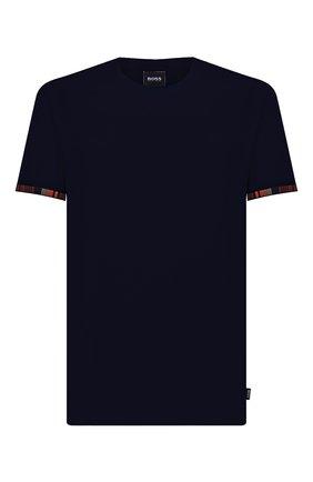 Мужская хлопковая футболка BOSS темно-синего цвета, арт. 50450156 | Фото 1