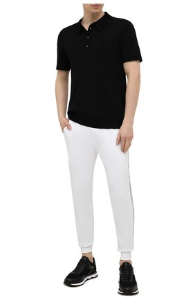 Мужские хлопковые джоггеры HUGO белого цвета, арт. 50456884 | Фото 2