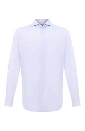 Мужская хлопковая сорочка BOSS голубого цвета, арт. 50454109 | Фото 1 (Рукава: Длинные; Материал внешний: Хлопок; Длина (для топов): Стандартные; Случай: Формальный; Принт: Однотонные; Рубашки М: Regular Fit; Манжеты: На пуговицах; Воротник: Акула; Стили: Классический)