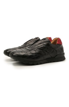 Мужские кроссовки из кожи аллигатора KITON черного цвета, арт. USSFREEN00102/AMIS | Фото 1 (Материал внутренний: Натуральная кожа; Материал внешний: Экзотическая кожа; Стили: Классический; Подошва: Массивная)