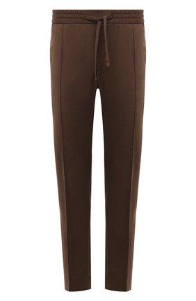 Мужские шерстяные брюки BRIONI коричневого цвета, арт. RPM20L/01A2Y/NEW SIDNEY   Фото 1 (Длина (брюки, джинсы): Стандартные; Материал внешний: Шерсть; Случай: Повседневный; Стили: Кэжуэл)