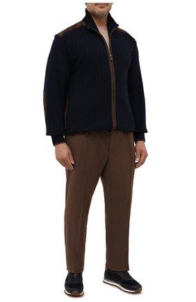 Мужские шерстяные брюки BRIONI коричневого цвета, арт. RPM20L/01A2Y/NEW SIDNEY   Фото 2 (Длина (брюки, джинсы): Стандартные; Материал внешний: Шерсть; Случай: Повседневный; Стили: Кэжуэл)