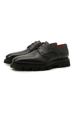 Мужские кожаные дерби SANTONI черного цвета, арт. MCLG17803SM3EABMN01 | Фото 1