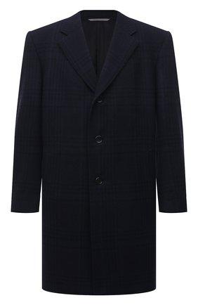 Мужской пальто из шерсти и кашемира CANALI темно-синего цвета, арт. 57118/FF02865 | Фото 1 (Длина (верхняя одежда): До колена; Материал внешний: Шерсть; Материал подклада: Купро; Рукава: Длинные; Мужское Кросс-КТ: пальто-верхняя одежда; Стили: Классический)