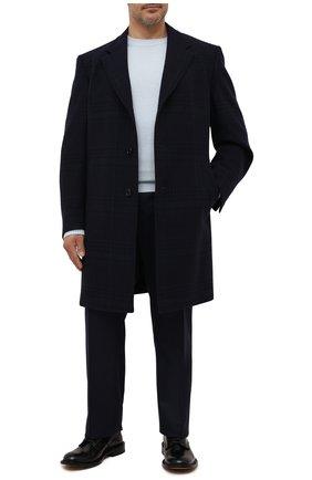 Мужской пальто из шерсти и кашемира CANALI темно-синего цвета, арт. 57118/FF02865 | Фото 2 (Длина (верхняя одежда): До колена; Материал внешний: Шерсть; Материал подклада: Купро; Рукава: Длинные; Мужское Кросс-КТ: пальто-верхняя одежда; Стили: Классический)