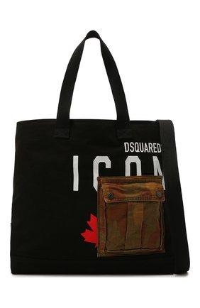 Мужская текстильная сумка-шопер DSQUARED2 черного цвета, арт. SPM0042 00300001 | Фото 1