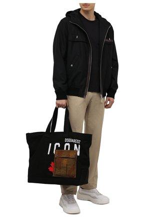 Мужская текстильная сумка-шопер DSQUARED2 черного цвета, арт. SPM0042 00300001 | Фото 2