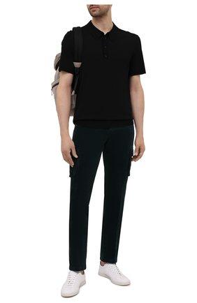 Мужские брюки-карго из хлопка и кашемира KITON темно-зеленого цвета, арт. UFPPCAJ0306A | Фото 2 (Материал внешний: Хлопок; Длина (брюки, джинсы): Стандартные; Силуэт М (брюки): Карго; Случай: Повседневный; Стили: Кэжуэл)