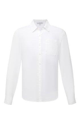 Мужская льняная рубашка JAMES PERSE белого цвета, арт. MJZ3376 | Фото 1 (Материал внешний: Лен; Рубашки М: Regular Fit; Воротник: Кент; Случай: Повседневный; Рукава: Длинные; Стили: Кэжуэл; Длина (для топов): Стандартные; Принт: Однотонные; Манжеты: На пуговицах)