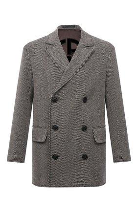 Мужской бушлат GIORGIO ARMANI серого цвета, арт. 1WG0C06D/T02RT | Фото 1 (Рукава: Длинные; Длина (верхняя одежда): Короткие; Материал внешний: Шерсть; Материал подклада: Синтетический материал; Мужское Кросс-КТ: пальто-верхняя одежда; Стили: Кэжуэл)