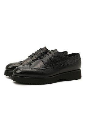 Мужские кожаные дерби DOUCAL'S темно-синего цвета, арт. DU1270DAK0PM019NB00 | Фото 1 (Стили: Классический; Мужское Кросс-КТ: Броги-обувь)