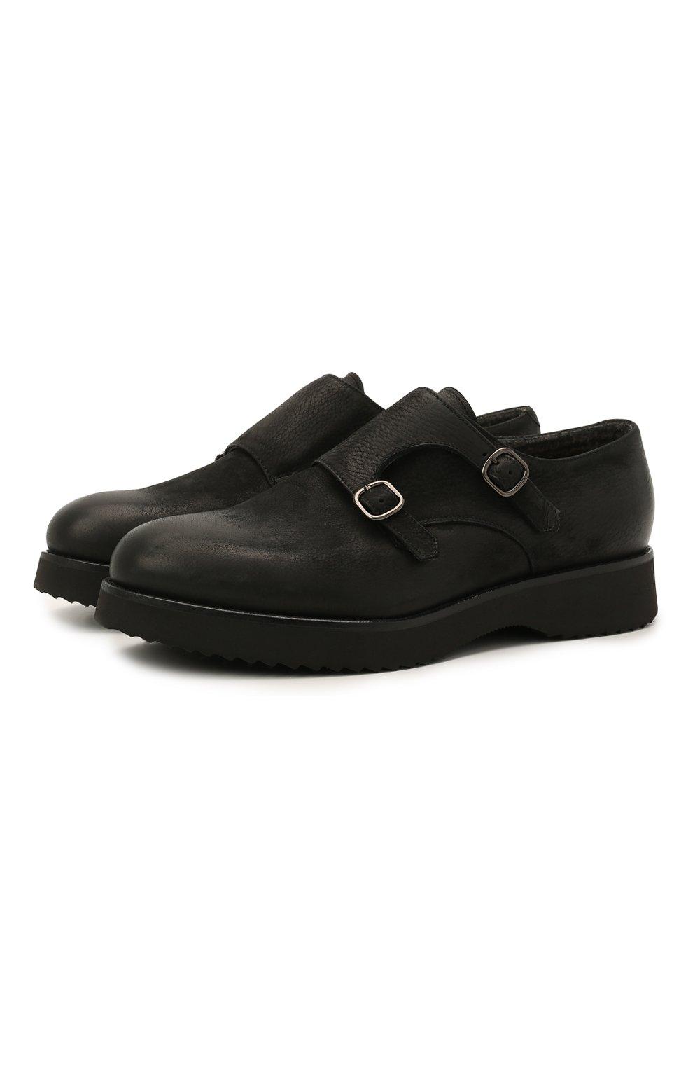Мужские кожаные монки DOUCAL'S черного цвета, арт. DU1275DAK0UT202NN00   Фото 1 (Материал внутренний: Натуральная кожа, Текстиль; Стили: Классический)