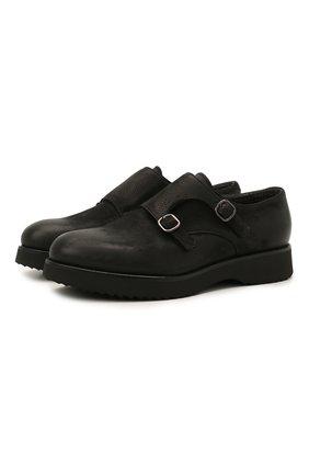 Мужские кожаные монки DOUCAL'S черного цвета, арт. DU1275DAK0UT202NN00 | Фото 1 (Материал внутренний: Натуральная кожа, Текстиль; Стили: Классический)