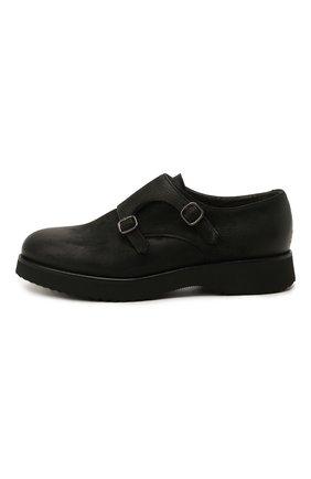 Мужские кожаные монки DOUCAL'S черного цвета, арт. DU1275DAK0UT202NN00   Фото 3 (Материал внутренний: Натуральная кожа, Текстиль; Стили: Классический)