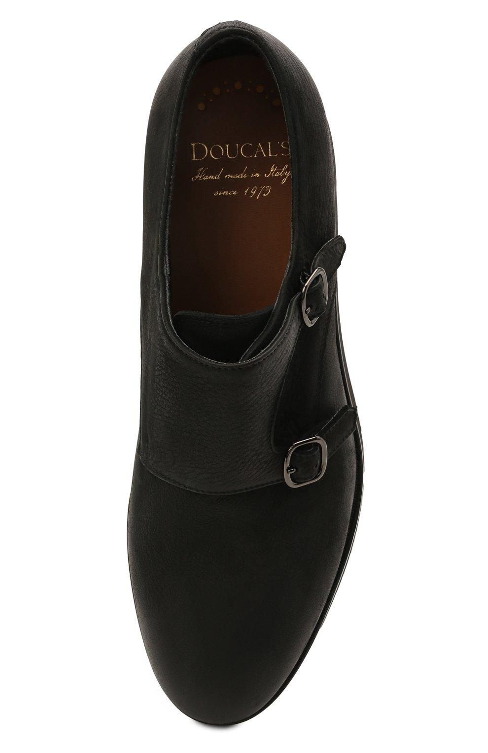 Мужские кожаные монки DOUCAL'S черного цвета, арт. DU1275DAK0UT202NN00   Фото 5 (Материал внутренний: Натуральная кожа, Текстиль; Стили: Классический)