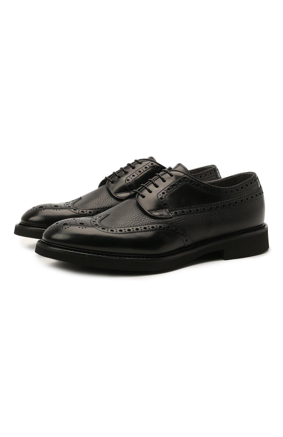 Мужские кожаные дерби DOUCAL'S черного цвета, арт. DU2478VER0PT547NN00 | Фото 1 (Мужское Кросс-КТ: Броги-обувь; Материал внутренний: Натуральная кожа, Текстиль; Стили: Классический)