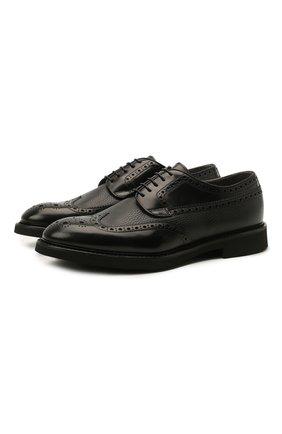 Мужские кожаные дерби DOUCAL'S черного цвета, арт. DU2478VER0PT547NN00 | Фото 1 (Материал внутренний: Натуральная кожа, Текстиль; Стили: Классический; Мужское Кросс-КТ: Броги-обувь)